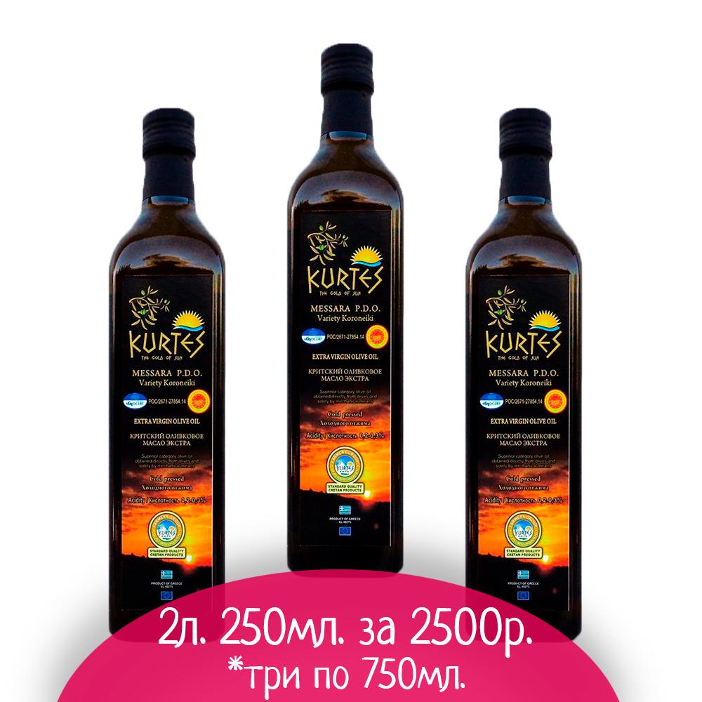 АКЦИЯ - Оливковое масло KURTES Extra virgin PDO 2 л. 250 мл. - кислотность 0,2-0,3 - доставка в Ваш город