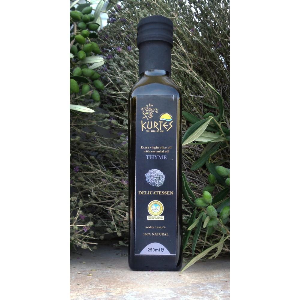 Оливковое масло KURTES Extra virgin PDO со вкусом Чабреца - 250 мл. Кислотность 0,2-0,3. - доставка в Ваш город