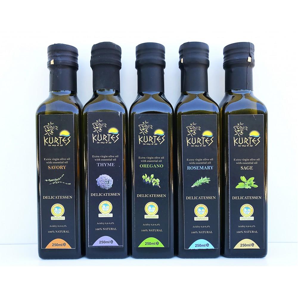 Оливковое масло KURTES Extra virgin PDO со вкусом Чабреца - 250 мл. Кислотность 0,2-0,3. - 2017г. - доставка в Ваш город