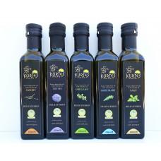 Оливковое масло KURTES Extra virgin PDO со вкусом Чабреца - 250 мл. Кислотность 0,2-0,3.