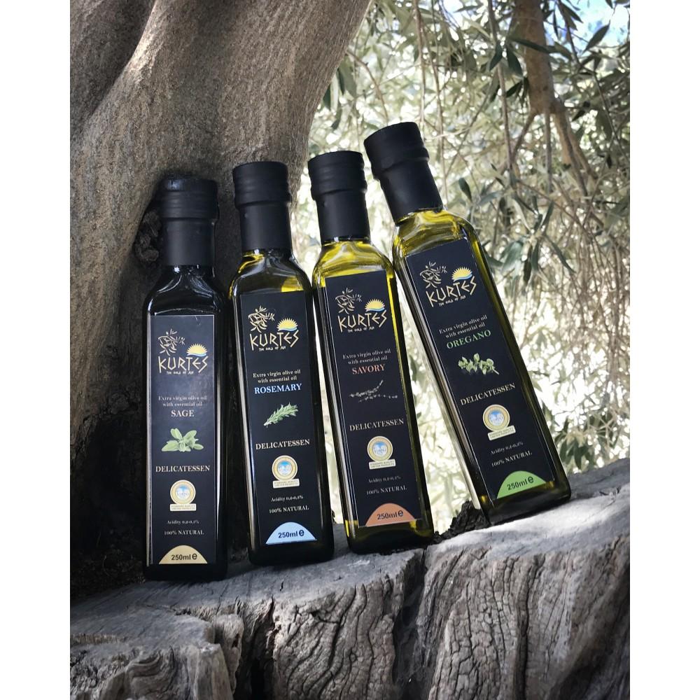 Оливковое масло KURTES Extra virgin PDO со вкусом Орегано - 250 мл. Кислотность 0,2-0,3. - доставка в Ваш город