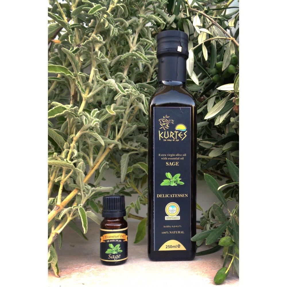 АКЦИЯ - Оливковое масло KURTES Extra virgin PDO со вкусом Шалфея - 500 мл. Кислотность 0,2-0,3. - доставка в Ваш город
