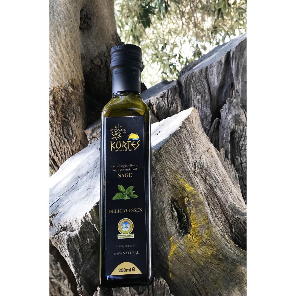 Оливковое масло KURTES Extra virgin PDO со вкусом Шалфея - 250 мл. Кислотность 0,2-0,3. - 2017г. - доставка в Ваш город