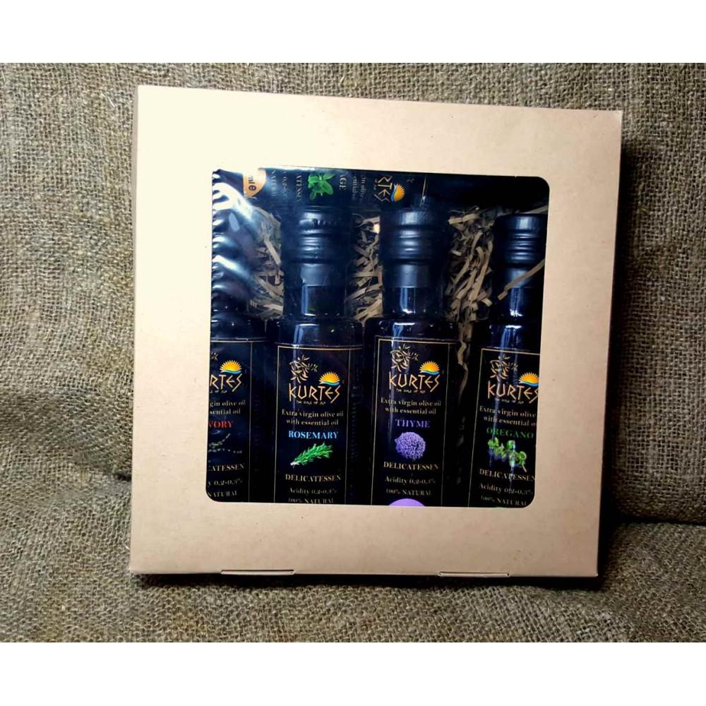 Оригинальный подарочный набор оливковых масел Extra Virgin KURTES 5 шт по 100 мл. - доставка в Ваш город
