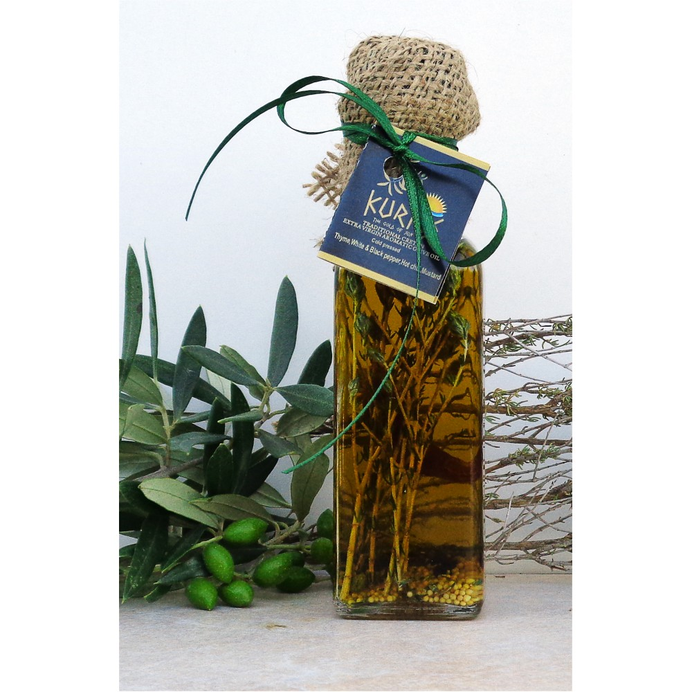 Оливковое масло KURTES Extra virgin PDO пикантное, с добавлением Чабреца и специй. 100 мл. Кислотность 0,2-0,3. - 2017г. - доставка в Ваш город