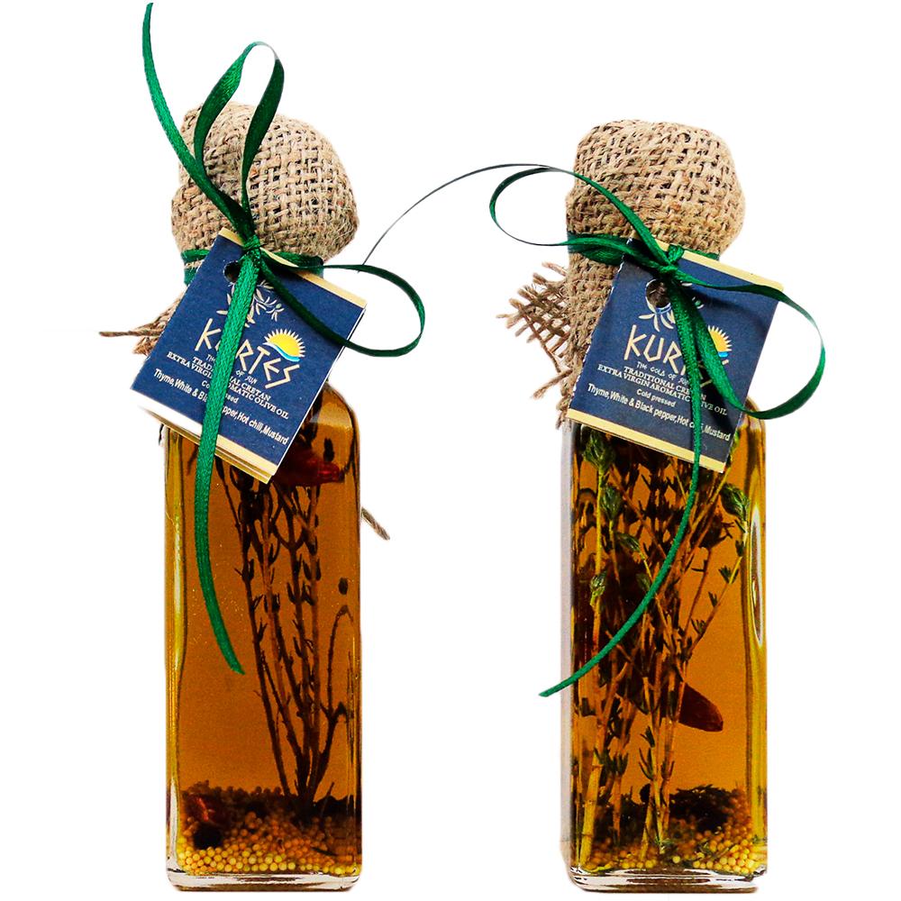 Оливковое масло KURTES Extra virgin PDO пикантное, с добавлением Чабреца и специй. 100 мл. Кислотность 0,2-0,3. - доставка в Ваш город