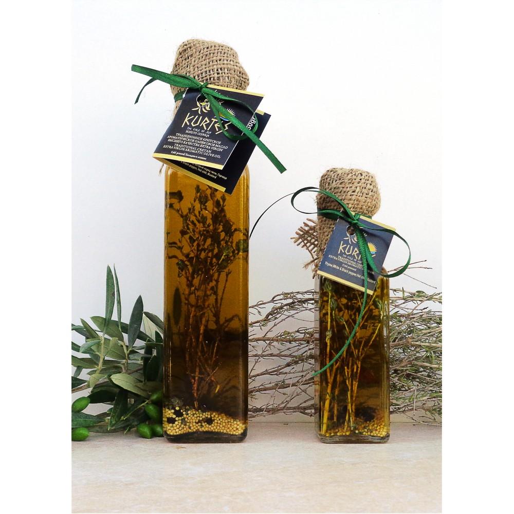 Оливковое масло KURTES Extra virgin PDO пикантное, с добавлением Чабреца и специй. 250 мл. Кислотность 0,2-0,3. - доставка в Ваш город