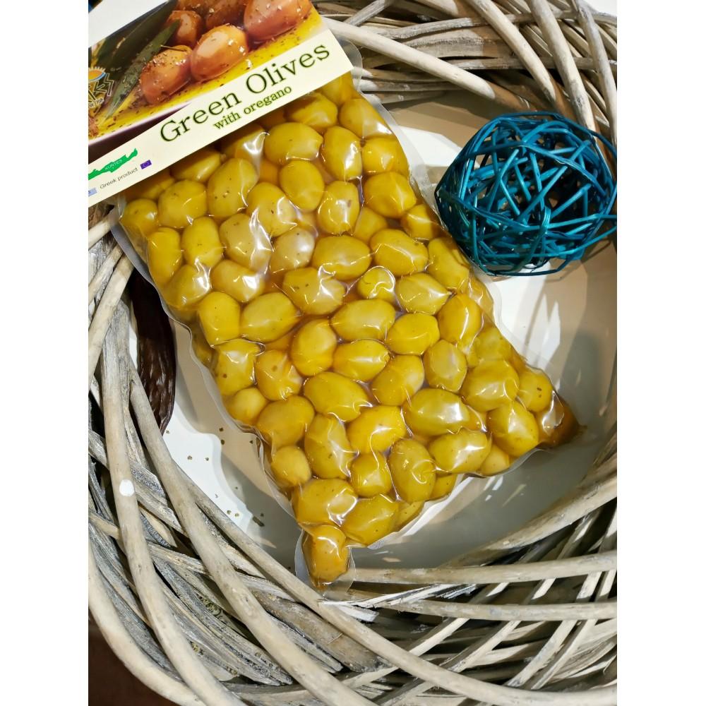 Оливки зеленые сорт Халкидики, приправленные орегано 1 кг вакуум ПЭТ - доставка в Ваш город