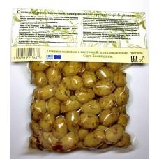 Оливки зеленые с косточкой приправленные орегано 250 г KURTES