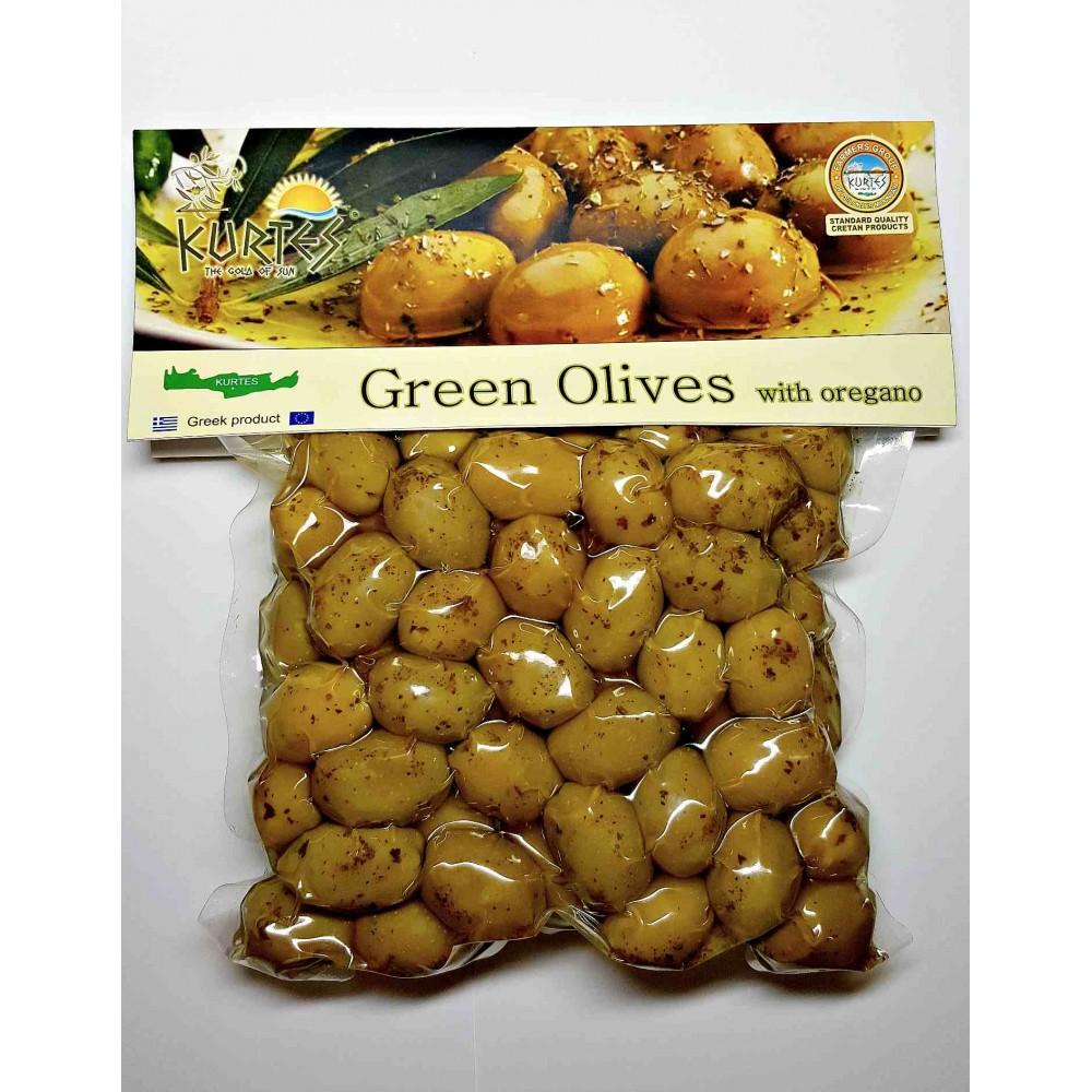 Оливки зеленые с косточкой приправленные орегано 250 г KURTES - доставка в Ваш город