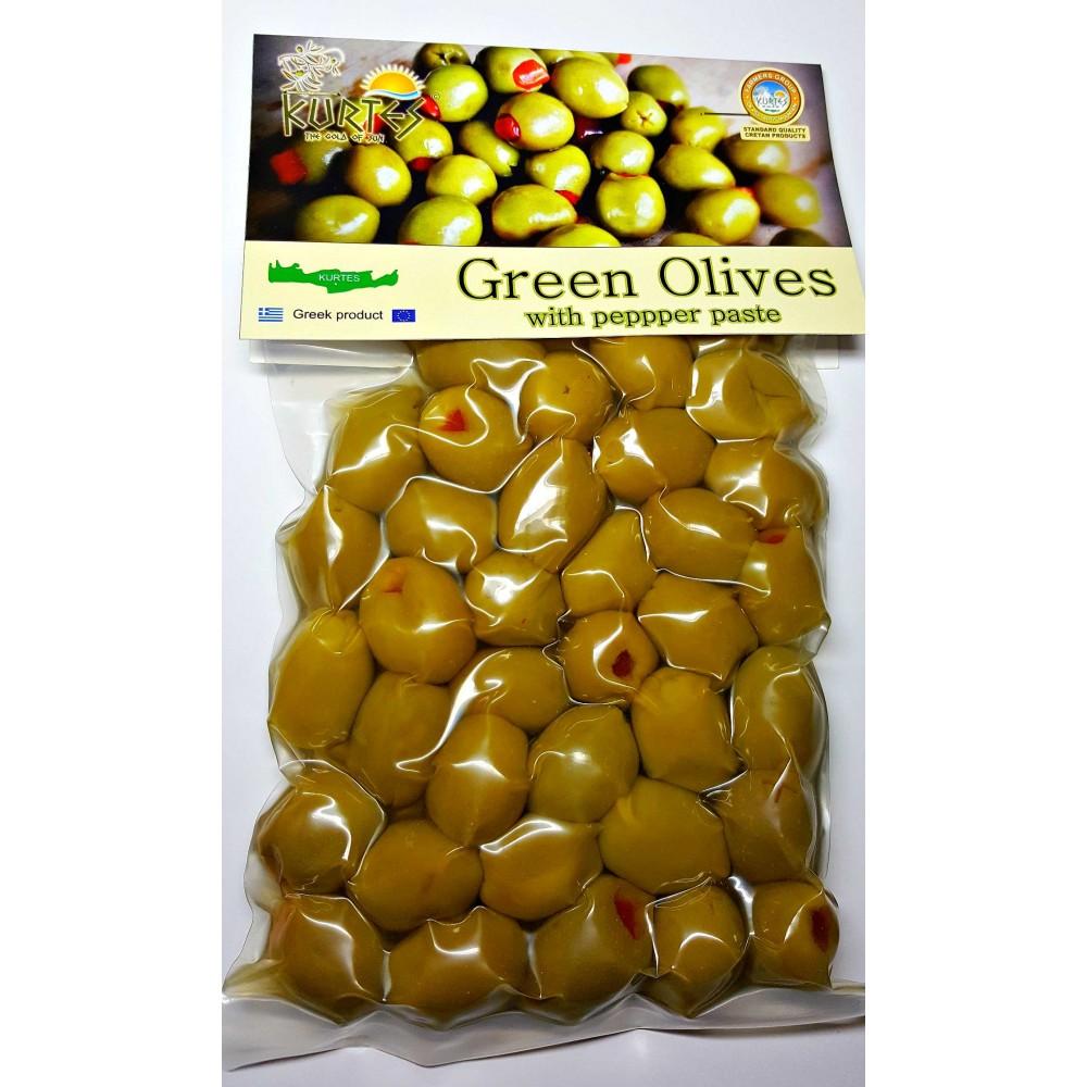 Оливки зеленые фаршированные красным сладким перцем 250 гр. KURTES - доставка в Ваш город