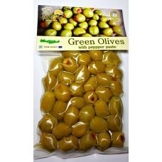 Оливки зеленые фаршированные красным сладким перцем 250 гр. KURTES